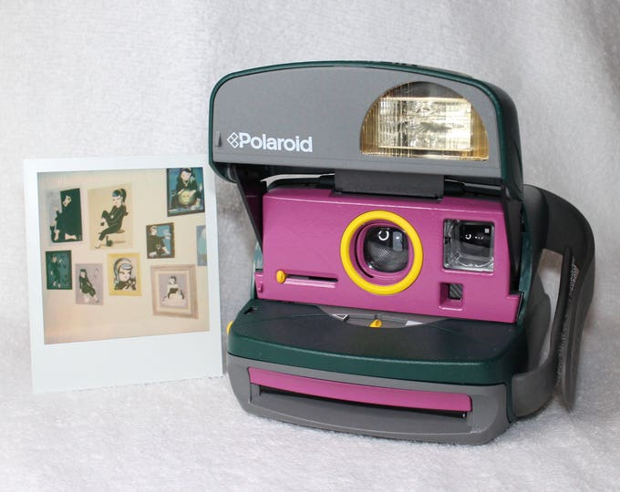 Retro Green Polaroid OneStep Camera With Built In Flash And Close Up Lens Upcycled with Purple