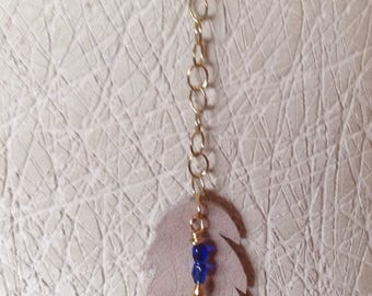feather leather and beads necklace
