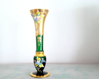 Green Gold Gilt Bohemian Flower Vase, Floral Glass Bud Vase,      Handpainted Czech Collectible, Christmas Decor