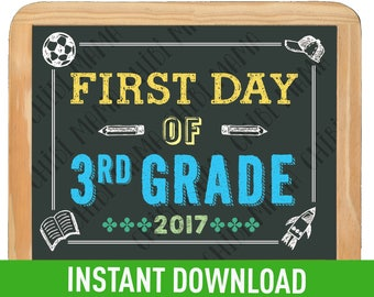 Boy First Day of 3rd Grade Sign Instant Download - 1st Day of School Printable, First Day of School sign, Back to School sign