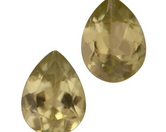 Yellow Apatite Loose Gemstone Pear Cut Set of 2 1A Quality 8x6mm TGW 1.85 cts.