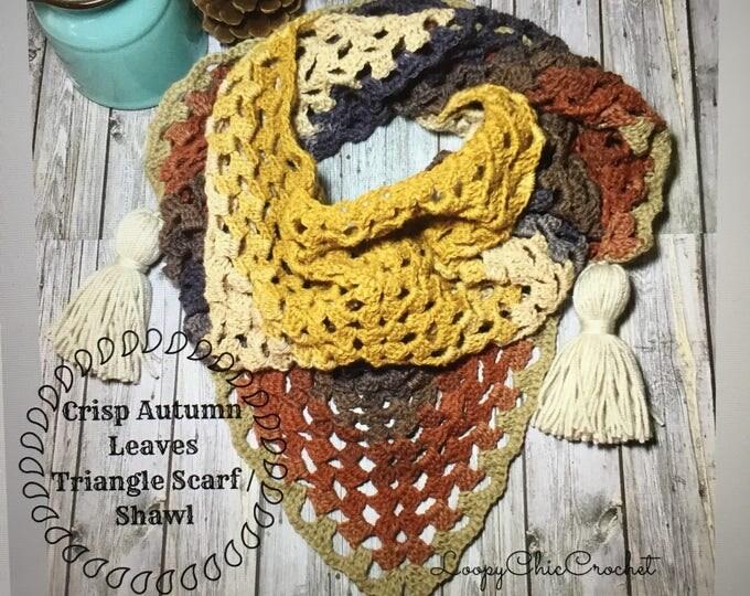 Crisp Autumn Leaves Triangle Scarf or Shawl Crochet Pattern, Fall Crochet Pattern