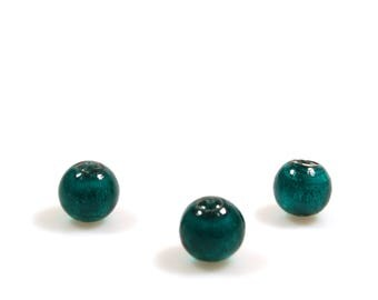 Silverfoil glass beads emerald green - round, ball -14 mm - 6 pieces - jewelry supplies - big beads