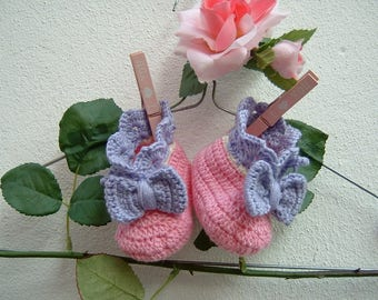 Slippers for babies-handmade crochet-pink, white and lilac merino wool slippers-baby shoes-size 0-3 months
