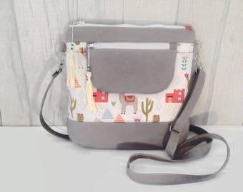 Cross Body Bag, Messenger Bag, Jasmine Sling Bag, Llama, Cactus, Mexican, Cream, Purse, Hobo Bag, Boho, Festival