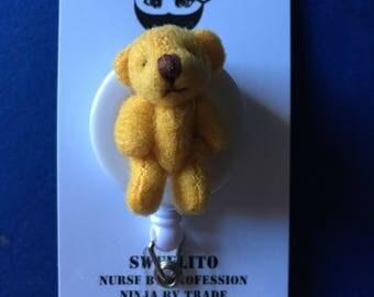 Tiny Plush Teddy Bear Handmade ~ ID Holder ~ Badge Reel ~ Slide Belt Clip ~ Alligator Clip~ Retractable Badge ~ Gifts Nurses Doctors Teacher