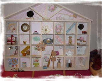 """Curiosity locker """"Les roses"""" fashion house N 5 Cabinet of curiosities sewing themed"""