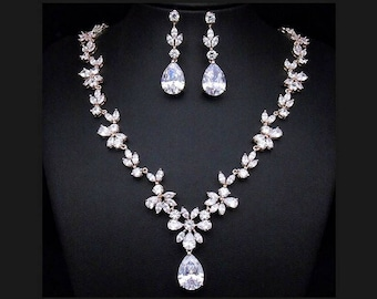 Rose Gold Wedding Set Crystal Bridal Jewelry Necklace And Earrings Luxury