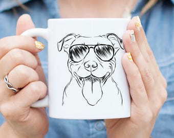 Major the Pitbull Mug - Gifts For Dog Owner, Pitbull Art, Pit Bull Gift