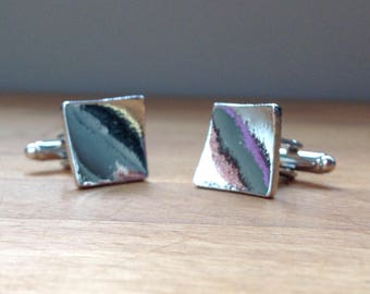 Silver twisted square plate cufflinks