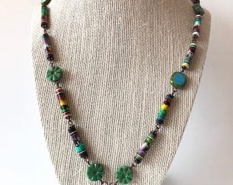Peruvian Hand Painted Necklace, Peruvian necklace, Hand Painted Necklace, Colorful Necklace, Llama bead Necklace