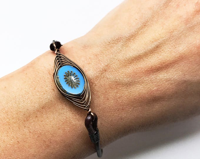Boho brown leather bracelet, Brown leather bracelet, Boho Jewelry, Bohemian bracelet, Free spirit bracelet, gypsy bracelet