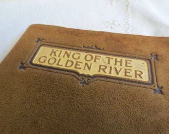 Antique Suede Leatherbound Book -  King of the Golden River by John Ruskin - Fairytale Fable
