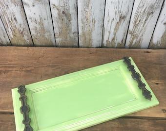 Shabby Chic Green Tray