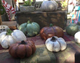 Solid Concrete pumpkins/ various sizes and colors