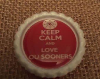 Oklahoma University Sooners OU Inspired Bottlecap Retractable ID Badge Holder Name Tag Reel