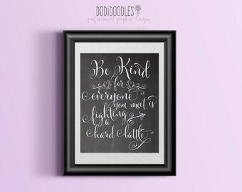 70% OFF THRU 7/1 ONLY 8x10 Chalkboard Printable, Be Kind for everyone you meet is fighting a hard battle, printable chalkboard, calligraphy