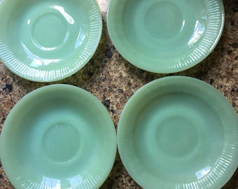4 Vintage Fire King Jadeite Jane Ray Ribbed Saucers - All Saucers Marked