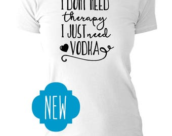 Women's White T Shirt | Therapy | Vodka | All Text | Crew Neck Cut | Alternative Apparel
