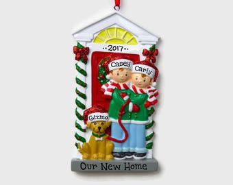 SHIPS FREE - Couple with a Dog - Red Door - New Home - First Apartment Personalized Ornament - Hand Personalized Christmas Ornament