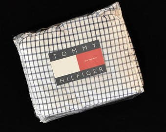 New Vintage Tommy Hilfiger Elizabeth Anne Twin Bedskirt Blue White Checks Dust Ruffle In Original Package