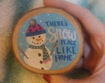Glittery Snowman Wood Magnet