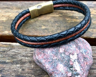 Mens Triple Strand Leather Bracelet, Brass Magnetic Clasp, Mens Bracelet, Men's Leather Bracelet,  Gift For Dad,  Fathers Day Gift CS-32