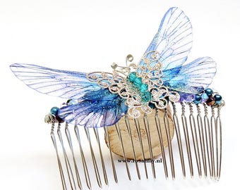 Large blue fairy butterfly hair comb. Fairy butterfly hair accessories. Blue beaded hair comb with Swarovski crystals. Gift for her