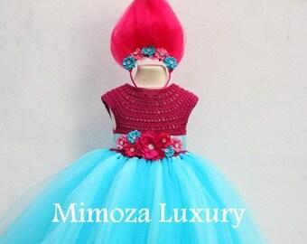 SALE Poppy Troll Luxury Dress, Poppy troll birthday dress, poppy troll costume, poppy troll outfit, poppy princess dress, trolls birthday th
