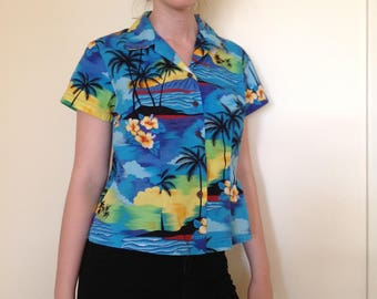 Hawaiian Shirt, Aloha Republic, Made in Hawaii, Blue Ocean, Volcanoes, Palm Trees, Hawaiian Sunset, Hibiscus Cotton Blouse, Women Size S