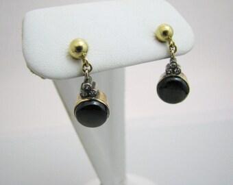 c393 Alluring Brown Sapphire Dangle Earrings in 14k Yellow Gold