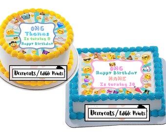 Emoji Cake, Emoji Cake Topper, Emoji Birthday, Edible image, Decoreats