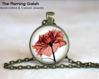 RED ROSE Pendant • Red Rose Xray • X-Ray Flower • Beautiful Rose • Red Flower • Gift Under 20 • Made in Australia (P1434)