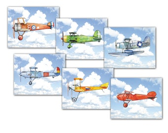 Airplane nursery decor Planes flying prints Vintage airplane flying in blue sky Aviation theme print Boys room wall art