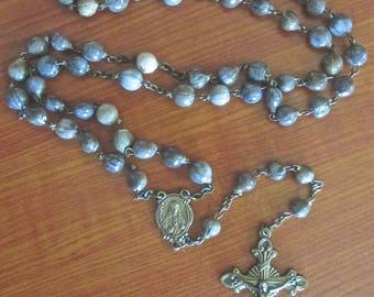 Vintage Sacred Heart Job's Tears Seed Bead Italian Rosary ORIGINAL