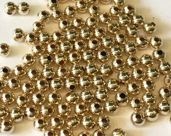10K Yellow Gold Round Beads Size 2mm, 2.5mm, 3mm, 4mm (Pack of 20 pieces)