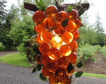 Gorgeous Vintage Mid Century Lucite Amber Grape Cluster Hanging Swag Lamp
