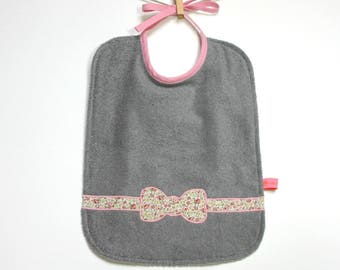 "Great bib pattern ""Knot"" gray and pink, reversible"