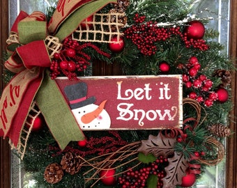 Green and Red Let It Snow Christmas Wreath - 24 inches