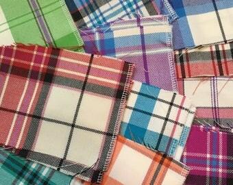 Wool Tartan Scraps-Dress Tartan for Craftng, Swatches