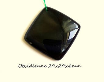 Obsidian 29x29x6mm Rainbow stone pendant natural blue and green hues