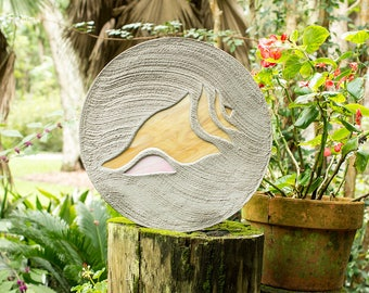 "Conch Shell Seashell Stepping Stone Large 18"" Diameter Made with Concrete and Stained Glass Perfect for Your Garden Patio or Back Yard #44"