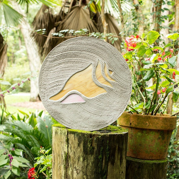 """Conch Shell Seashell Stepping Stone Large 18"""" Diameter Made with Concrete and Stained Glass Perfect for Your Garden Patio or Back Yard #44"""