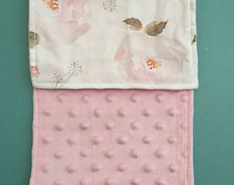 Minky Burp Rag - Blooms with Light Pink Minky
