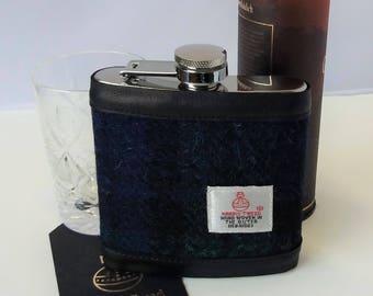 Harris Tweed Hip Flask / Leather /Blackwatch