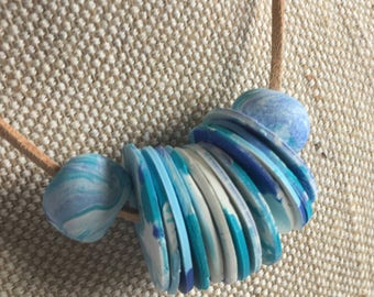 Keeping Out Of Trouble // Necklace //  Marbled Blues