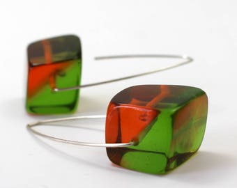 Big Bold Two-Toned Resin Cubes on Silver