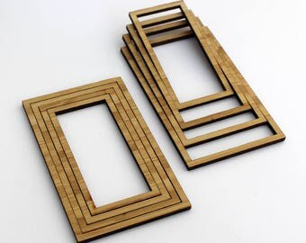 8 Concentric Rectangle Wood Beads : Bamboo