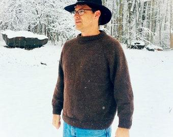 Men's Hand Knit Wool Sweater - gray, blue, black, green, brown