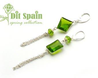 Mismatched earrings gift wife  woman gift idea Peridot earrings tassel Asymmetrical earring Boho earrings Gypsy earrings mismatch